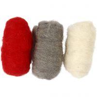 Kartet uld, rød/hvid harmoni, 3x10 g/ 1 pk.