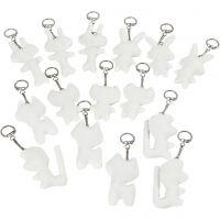 Stoffigurer med nøglering, str. 6-10 cm, hvid, 15 stk./ 1 pk.