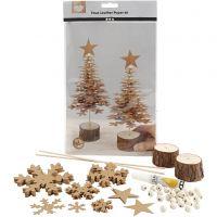 Juletræer af læderpapir, tykkelse 0,55 mm, 1 sæt