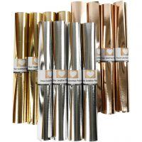Læderpapir, B: 49 cm, tykkelse 0,55 mm, ensfarvet,folie, guld, rosaguld, sølv, 12x1 m/ 1 pk.