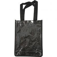 Taske med plastfront, str. 30x23x7 cm, sort, 1 stk.