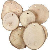 Træskiver med hul, diam. 40-70 mm, hulstr. 4 mm, tykkelse 5 mm, 25 stk./ 1 pk.