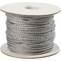 Snor, tykkelse 2 mm, sølv, 50 m/ 1 rl.
