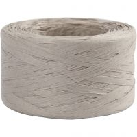 Raffia papirgarn, B: 7-8 mm, lys grå, 100 m/ 1 rl.
