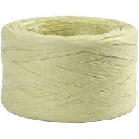 Raffia papirgarn, B: 7-8 mm, lys grøn, 100 m/ 1 rl.