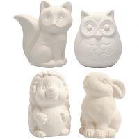 Sparedyr, ugle, ræv, pindsvin, hare, H: 9-10 cm, hvid, 4 stk./ 1 ks.