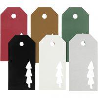Manilamærker, juletræ, str. 5x10 cm, Indhold kan variere, 300 g, 6x15 stk./ 1 pk.