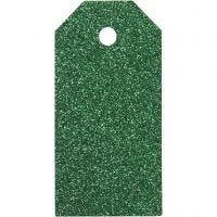 Manilamærker, str. 5x10 cm, glitter, 300 g, grøn, 15 stk./ 1 pk.