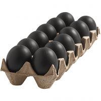 Æg, H: 6 cm, sort, 12 stk./ 1 pk.