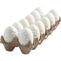 Æg, præget mønster, H: 6 cm, hvid, 12 stk./ 1 pk.