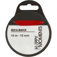 Satinbånd, B: 10 mm, rød, 10 m/ 1 rl.