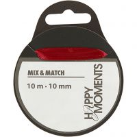 Satinbånd, B: 10 mm, vinrød, 10 m/ 1 rl.