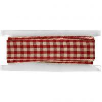 Ternet bånd, B: 20 mm, gl. rød/hvid, 2 m/ 1 rl.