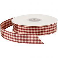 Ternet bånd, B: 20 mm, gl. rød/hvid, 25 m/ 1 rl.