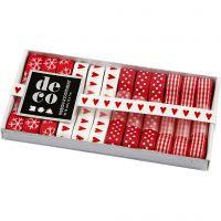 Dekorationsbånd, B: 10 mm, rød/hvid harmoni, 12x1 m/ 1 pk.