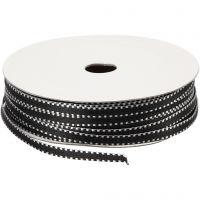 Dekorationsbånd, B: 4 mm, sort/hvid, 20 m/ 1 pk.
