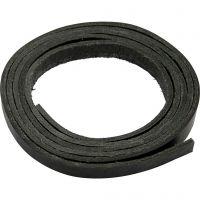 Læderbånd, B: 10 mm, tykkelse 3 mm, sort, 2 m/ 1 pk.