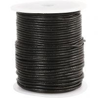 Lædersnor, tykkelse 2 mm, sort, 50 m/ 1 rl.