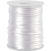 Satinsnor, tykkelse 2 mm, hvid, 50 m/ 1 rl.