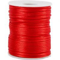 Satinsnor, tykkelse 2 mm, rød, 50 m/ 1 rl.