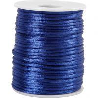 Satinsnor, tykkelse 2 mm, mørk blå, 50 m/ 1 rl.