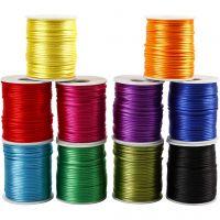 Satinsnor, tykkelse 2 mm, stærke farver, 10x50 m/ 1 pk.