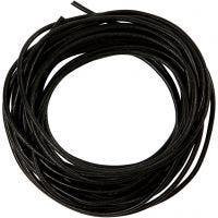 Lædersnor, tykkelse 2 mm, sort, 4 m/ 1 rl.