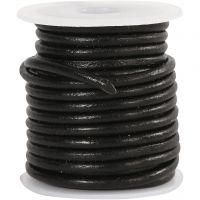 Lædersnor, tykkelse 3 mm, sort, 5 m/ 1 rl.