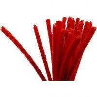 Chenille, L: 30 cm, tykkelse 9 mm, rød, 25 stk./ 1 pk.