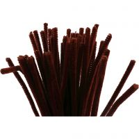 Chenille, L: 30 cm, tykkelse 6 mm, gl. rød, 50 stk./ 1 pk.