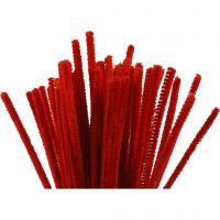 Chenille, L: 30 cm, tykkelse 6 mm, rød, 50 stk./ 1 pk.