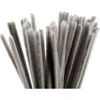 Chenille, L: 30 cm, tykkelse 6 mm, grå, 50 stk./ 1 pk.