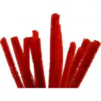 Chenille, L: 30 cm, tykkelse 15 mm, rød, 15 stk./ 1 pk.
