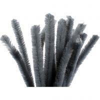 Chenille, L: 30 cm, tykkelse 15 mm, grå, 15 stk./ 1 pk.
