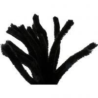 Chenille, L: 30 cm, tykkelse 15 mm, sort, 15 stk./ 1 pk.