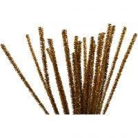 Chenille, L: 30 cm, tykkelse 6 mm, glitter, guld, 24 stk./ 1 pk.