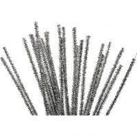 Chenille, L: 30 cm, tykkelse 6 mm, glitter, sølv, 24 stk./ 1 pk.