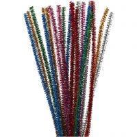 Chenille, L: 30 cm, tykkelse 6 mm, glitter, stærke farver, 24 stk./ 1 pk.
