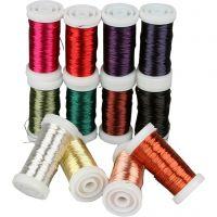 Blød smykketråd - sortiment, tykkelse 0,5 mm, ass. farver, 12x50 m/ 1 pk.
