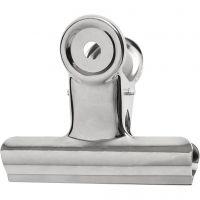 Metalklemme, B: 7,5 cm, sølv, 6 stk./ 1 pk.