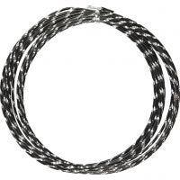 Bonzaitråd, diamond-cut, tykkelse 2 mm, sort, 7 m/ 1 rl.