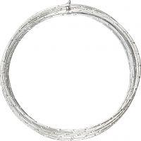 Bonzaitråd, diamond-cut, tykkelse 2 mm, sølv, 7 m/ 1 rl.