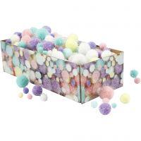 Pomponer, diam. 15-40 mm, glitter, pastelfarver, 400 g/ 1 pk.