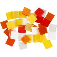 Minimosaik, str. 10x10 mm, rød/orange harmoni, 25 g/ 1 pk.