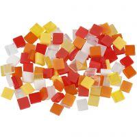 Minimosaik, str. 5x5 mm, rød/orange harmoni, 25 g/ 1 pk.