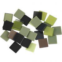 Minimosaik, str. 10x10 mm, tykkelse 2 mm, grøn glitter, 25 g/ 1 pk.