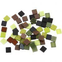 Minimosaik, str. 5x5 mm, tykkelse 2 mm, grøn glitter, 25 g/ 1 pk.
