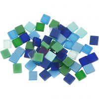 Minimosaik, str. 5x5 mm, tykkelse 2 mm, blå/grøn harmoni, 25 g/ 1 pk.