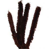 Chenille, L: 40 cm, tykkelse 30 mm, brun, 4 stk./ 1 pk.