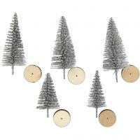 Grantræer, H: 40+60 mm, sølv, 5 stk./ 1 pk.